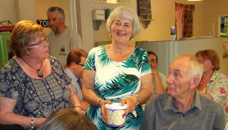 Handover evening 25th June, 2014 - Secretary Janet Richardson and, left, Lynn Urbanowicz selling raffle tickets.