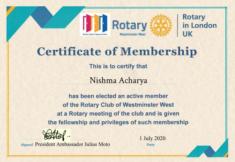 Inaugural visit and address by District Governor Francis Uwaechi  - To Rotarian Nishma Acharya