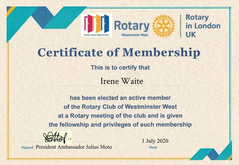 Inaugural visit and address by District Governor Francis Uwaechi  - To Rotarian Irene Waite