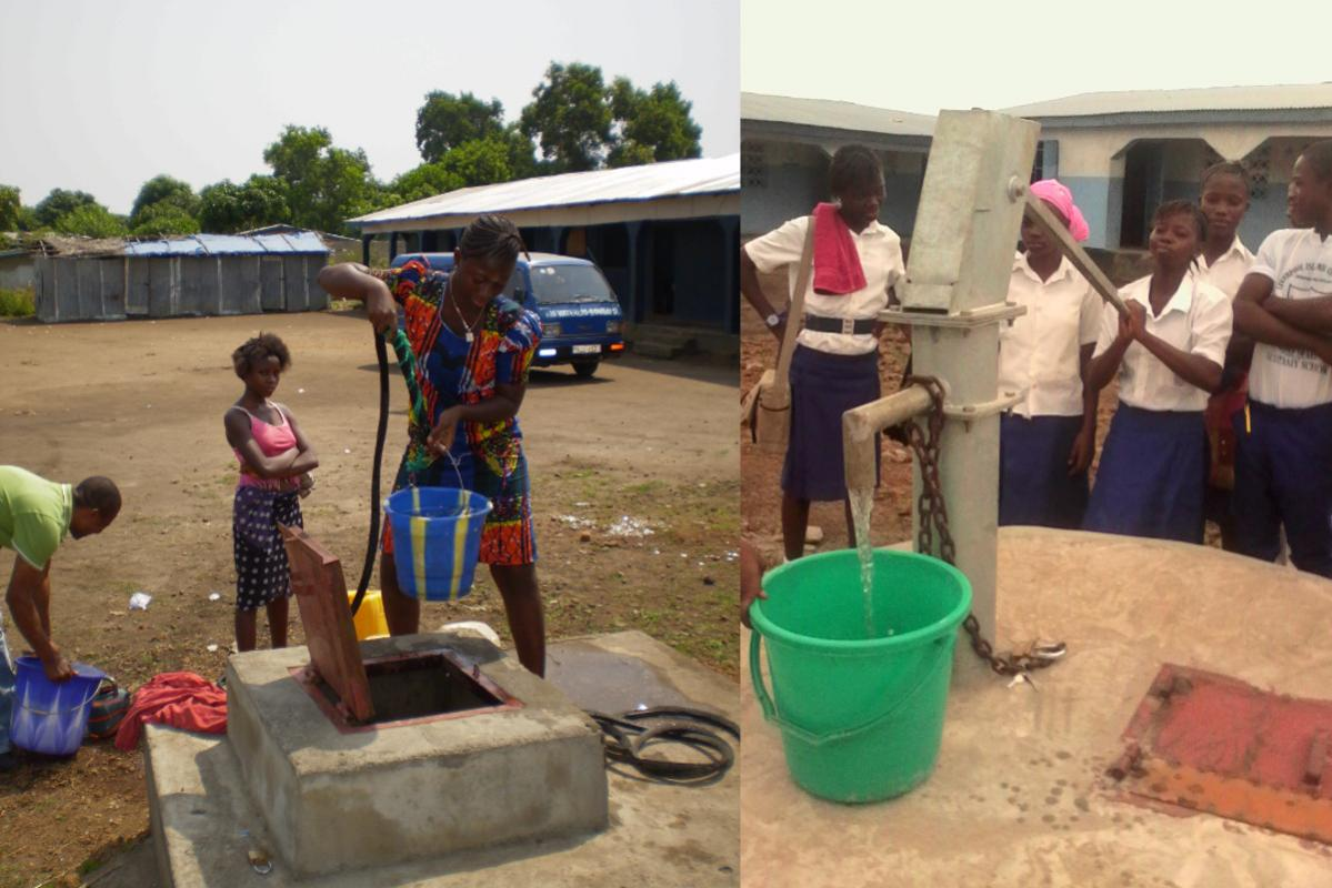 International projects funded by district grants - Supported by Banbury Rotary Club - the old well and the new well at Liverpool Community School Waterloo.