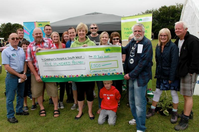 WHEELS 2015 A GREAT SUCCESS - Cornish Mini Club presents a cheque to Childrens Hospice  South West