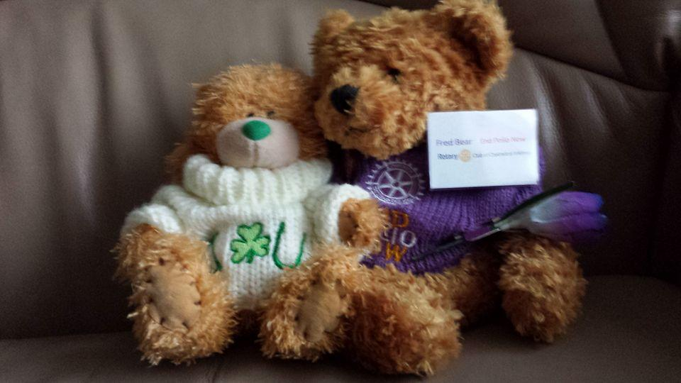 Fred Bear raising awareness and funds to end polio - making friends with my little Irish cousin, Paddy.