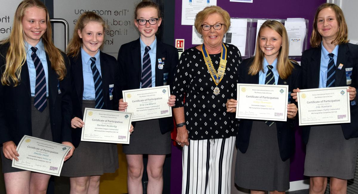 ROTARY YOUNG WRITER 2018 - Amelia Smith, Rachel Beckerleg, Eve Luckhurst, President Joan Symons, Winner Kitty Thornton, Lila Kantaris