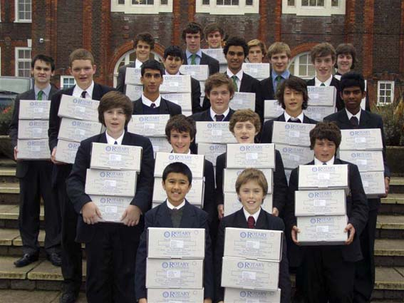 Students of Wycombe Royal Grammar School with their 