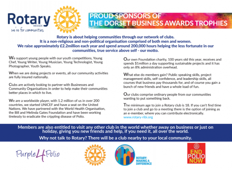 Rotary Wessex Sponsors Dorset Business Awards