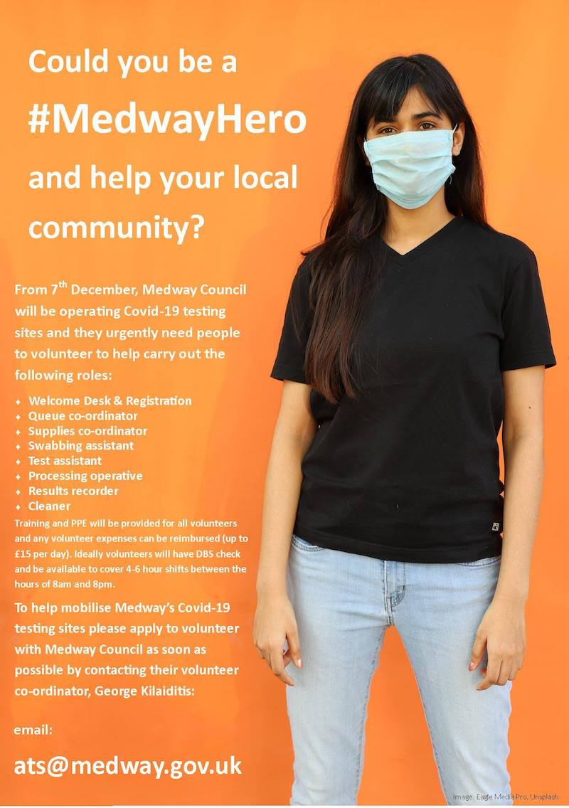 Volunteering opportunity - helping to mobilise Medway's Covid-19 testing sites
