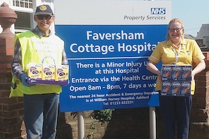 Delivering Easter eggs to Faversham Cottage Hospital