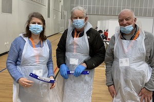 Nolene Harris, Stuart Talbot and Rod Leeming on the Covid front line at Bromley College
