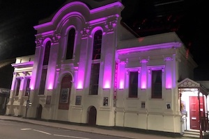 Purple illumination for Whitstable Playhouse on Rotary Day