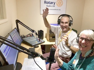 Presenter Steve Wood & DG Brenda Parsons at Rotary Radio UK launch event