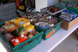 Donations to the Eastbourne Foodbank by members of Rotary Club of Sovereign Harbour