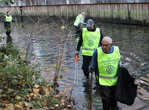 Rotary Club of Ravensbourne members cleaning the river